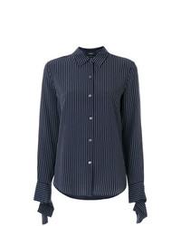 Camisa de vestir de rayas verticales azul marino de Theory