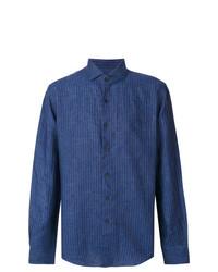 Camisa de vestir de rayas verticales azul marino de Xacus