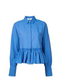 Camisa de vestir de rayas verticales azul de MSGM
