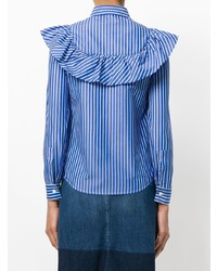 Camisa de vestir de rayas verticales azul de RED Valentino