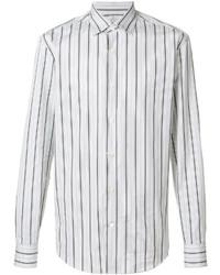 Camisa de vestir de rayas verticales blanca de Salvatore Ferragamo