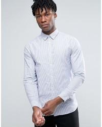 Camisa de vestir de rayas verticales blanca de Selected