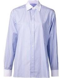 Camisa de vestir de rayas verticales celeste