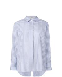 Camisa de vestir de rayas verticales celeste de Alberto Biani