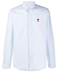 Camisa de vestir de rayas verticales celeste de Ami Paris
