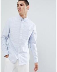 Camisa de Vestir de Rayas Verticales Celeste de Calvin Klein