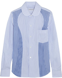 Camisa de vestir de rayas verticales celeste de Comme des Garcons