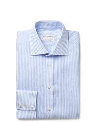 Camisa de vestir de rayas verticales celeste de Kingsman
