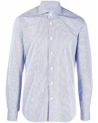 Camisa de vestir de rayas verticales celeste de Kiton