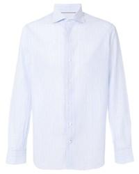 Camisa de vestir de rayas verticales celeste de Loro Piana