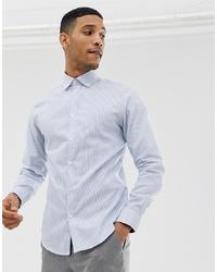 Camisa de vestir de rayas verticales celeste de Selected Homme