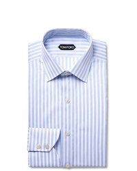 Camisa de vestir de rayas verticales celeste de Tom Ford