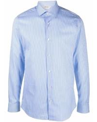 Camisa de vestir de rayas verticales celeste de Z Zegna