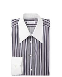 Camisa de vestir de rayas verticales en azul marino y blanco