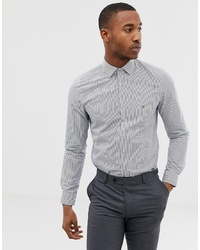 Camisa de vestir de rayas verticales en blanco y azul marino de Calvin Klein
