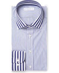 Camisa de vestir de rayas verticales en blanco y azul marino de Etro