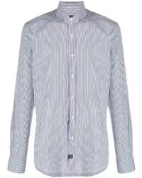 Camisa de vestir de rayas verticales en blanco y azul marino de Fay