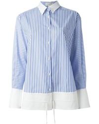 Camisa de vestir de rayas verticales en blanco y azul de Aquilano Rimondi
