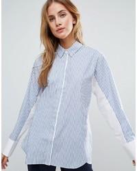 Camisa de vestir de rayas verticales en blanco y azul de Asos