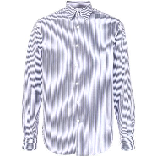Camisa de Vestir de Rayas Verticales en Blanco y Azul de Aspesi