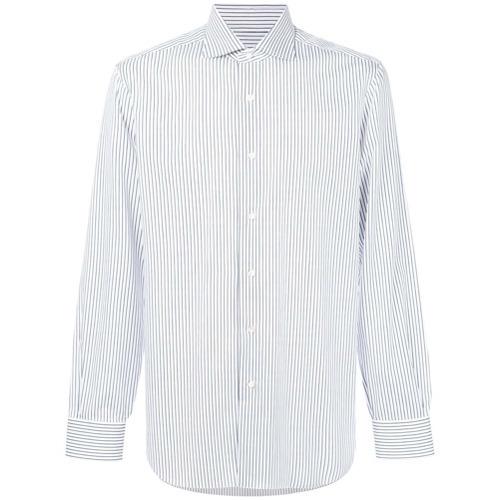 Camisa de vestir de rayas verticales en blanco y azul de Barba