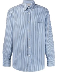 Camisa de vestir de rayas verticales en blanco y azul de Brunello Cucinelli