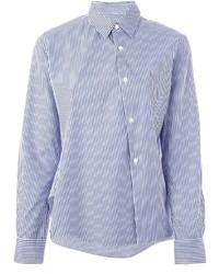 Camisa de vestir de rayas verticales en blanco y azul de Comme Des Garcons Comme Des Garcons