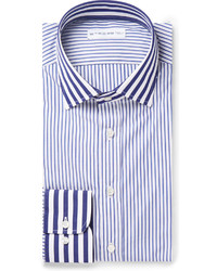 Camisa de Vestir de Rayas Verticales en Blanco y Azul de Etro