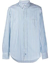 Camisa de vestir de rayas verticales en blanco y azul de Lanvin