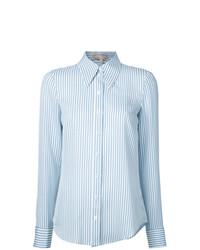 Camisa de vestir de rayas verticales en blanco y azul de Michael Kors Collection