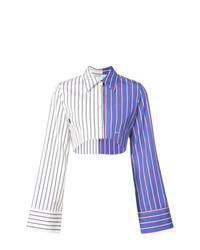 Camisa de vestir de rayas verticales en blanco y azul de Off-White