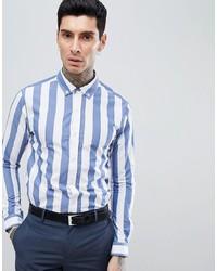 Camisa de vestir de rayas verticales en blanco y azul de Process Black