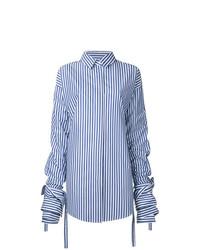 Camisa de vestir de rayas verticales en blanco y azul de Strateas Carlucci