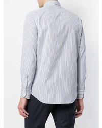 Camisa de vestir de rayas verticales en blanco y azul de Finamore 1925 Napoli