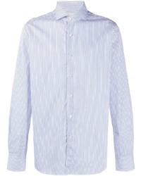 Camisa de vestir de rayas verticales en blanco y azul de Xacus