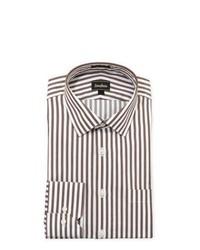 Camisa de vestir de rayas verticales en blanco y marrón