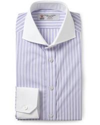 Camisa de vestir de rayas verticales en blanco y morado de Turnbull & Asser
