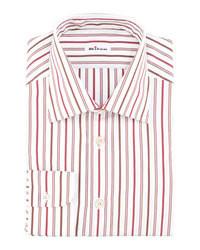 Camisa de vestir de rayas verticales en blanco y rojo