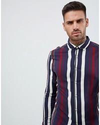 Camisa de vestir de rayas verticales en blanco y rojo y azul marino de ASOS DESIGN