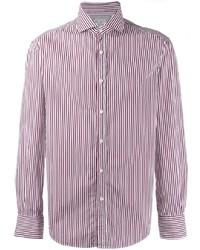 Camisa de vestir de rayas verticales en blanco y rojo de Brunello Cucinelli