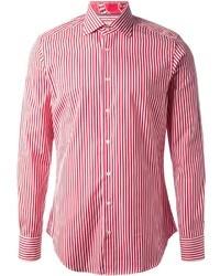 Camisa de vestir de rayas verticales en blanco y rojo de Etro