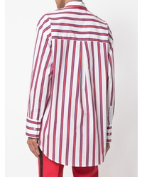 Camisa de vestir de rayas verticales en blanco y rojo de MSGM