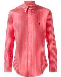 Camisa de vestir de rayas verticales en blanco y rojo de Polo Ralph Lauren
