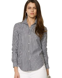 Camisa de vestir de rayas verticales en negro y blanco