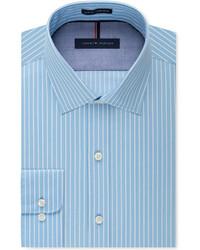 Camisa de vestir de rayas verticales en turquesa