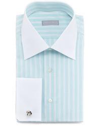 Camisa de vestir de rayas verticales en verde menta