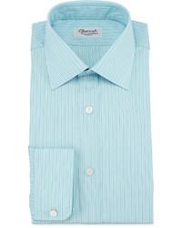 Camisa de Vestir de Rayas Verticales en Verde Menta de Charvet