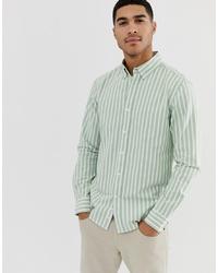 Camisa de vestir de rayas verticales en verde menta de Pull&Bear