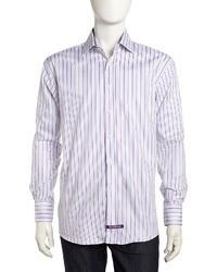 Camisa de vestir de rayas verticales en violeta