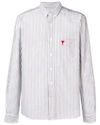 Camisa de vestir de rayas verticales gris de Ami Paris